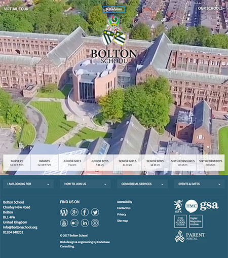 Screenshot showing the homepage of the Bolton School website