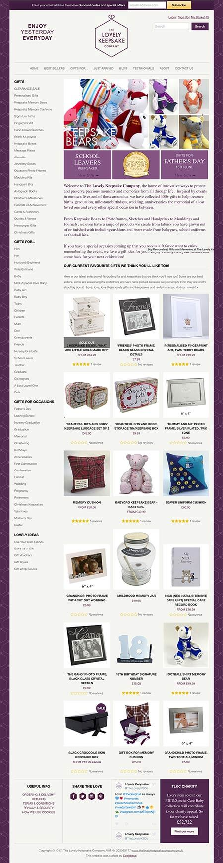 Screenshot showing the homepage of The Lovely Keepsake Company website